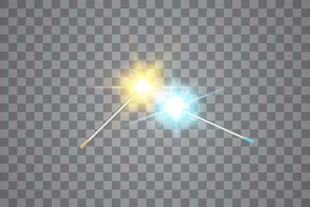 Collision of two forces with gold and blue light Magic wand. Vector illustration. Isolated on transparent background