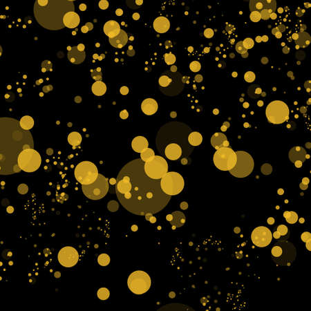 Bokeh effect isolated on black background. Dark Abstract Gold bokeh sparkle on black background Çizim