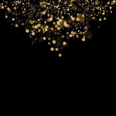Bokeh effect isolated on black background. Dark Abstract Gold bokeh sparkle on black background.