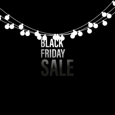 Black Friday Sale handmade with garland and dark background for logo, banners, labels, badges, prints, posters, web. Vector illustration.