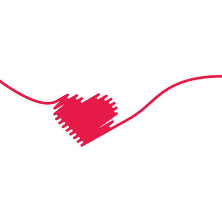 Hand painted red heart. One line. Hand drawing of heart doodle by crayon . Use for background Illustration