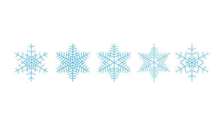 Vector big set of blue Snowflakes design element on white background. Different designs.
