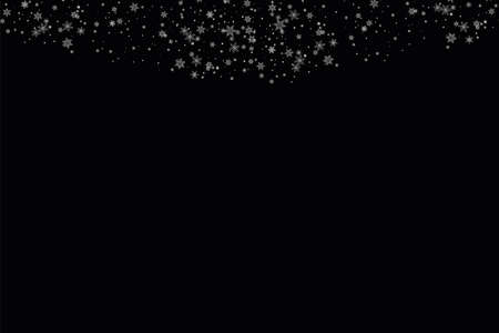 Realistic falling snowflakes. Isolated on black background. Vector illustration Illustration