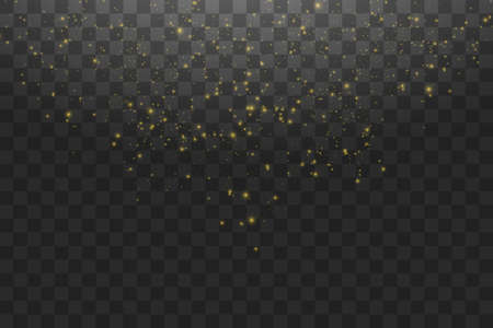 Vector golden cloud glitter wave abstract illustration. White star dust trail sparkling particles isolated on transparent background. Magic concept Çizim