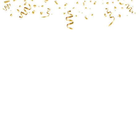 Golden curved confetti isolated on transparent background. Confetti burst. Festive vector illustration