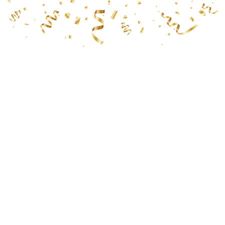 Golden curved confetti isolated on transparent background. Confetti burst. Festive vector illustration.