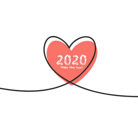 Happy New Year 2020 with glitch Heart in continuous drawing lines in a flat style in continuous drawing lines. The work of flat design. Symbol of love and tenderness. Çizim