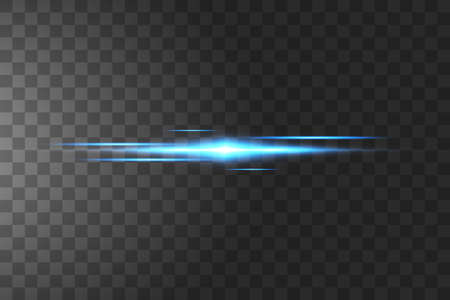 Blue horizontal lens flares pack. Laser beams, horizontal light rays.Beautiful light flares. Glowing streaks on dark background. Luminous abstract sparkling lined background. Çizim