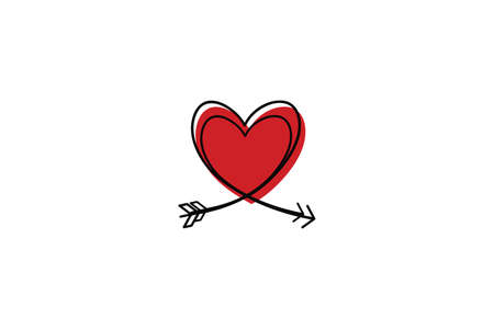 Two Cupid s arrows in the continuous drawing of lines in the form of a heart in a flat style. Continuous black line. Work flat design. Symbol of love and tenderness. Ilustração
