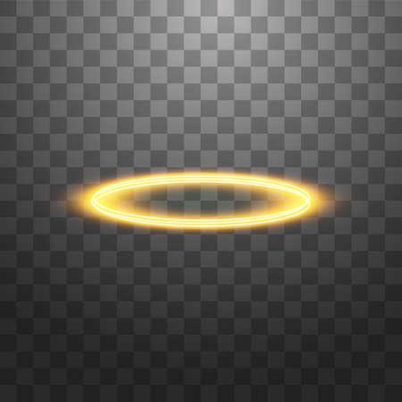 Anillo de angel halo dorado. Aislado sobre fondo negro transparente, ilustración vectorial