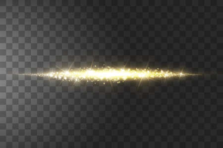 Glow isolated golden transparent effect, lens flare, explosion, glitter, line, sun flash, spark and stars. Ilustrace