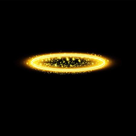Golden halo angel ring. Isolated on black background, vector illustration.