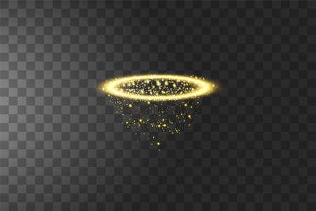 Golden halo angel ring. Isolated on black transparent background, vector illustration