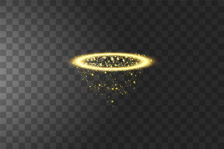 Golden halo angel ring. Isolated on black transparent background, vector illustration