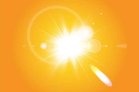 Warm sun on a yellow background. Summer. Glare. Solar rays.