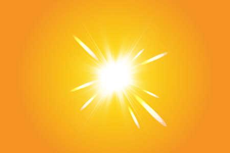 Warm sun on a yellow background. Summer. Glare. Solar rays. Ilustração