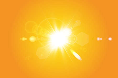 Warm sun on a yellow background. Summer. Glare. Solar rays