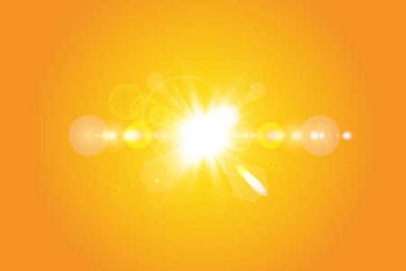 Warm sun on a yellow background. Summer. Glare. Solar rays Banco de Imagens - 142770820