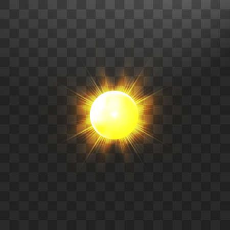 Warm sun on a transparent background. Summer. Glare. Solar rays
