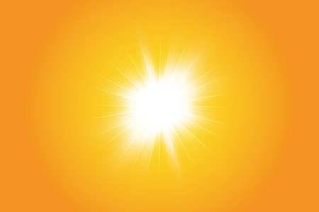 Warm sun on a yellow background. Summer. Glare. Solar rays Banco de Imagens - 142770829