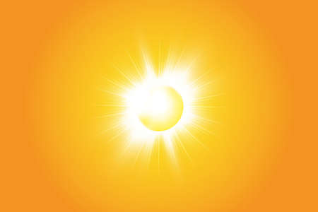 Warm sun on a yellow background. Summer. Glare. Solar rays
