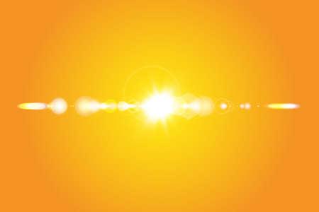Warme Sonne auf gelbem Hintergrund. Sommer. Blendung. Sonnenstrahlen. Vektorgrafik