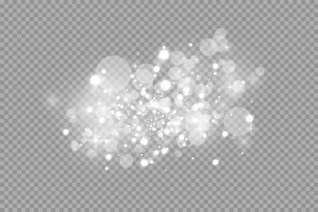 Effetto luce bagliore. Illustrazione vettoriale. Polvere flash di Natale. Scintille bianche e speciali effetti luminosi glitterati. Scintille di vettore su sfondo trasparente. Particelle di polvere magica scintillanti