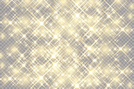 Abstract background. Golden rays of light with luminous magical dust. Glow in the dark. Flying particles of light. Vector illustration.