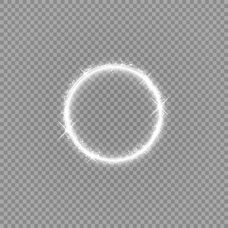 Round shiny frame with lights.