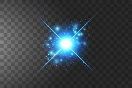 Shining blue stars isolated on transparent background. Vector illustration. 向量圖像