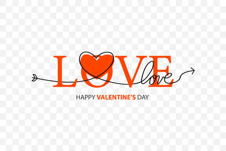 Happy Valentines Day lettering isolated on white background vector illustration. Letters hand drawn composition for gift, postcard, print, banner, web. Greeting romantic design. Love symbol tagline. 向量圖像