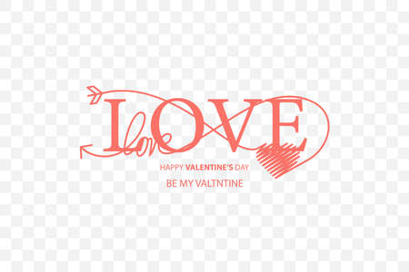 Happy Valentines Day lettering isolated on white background vector illustration. Letters hand drawn composition for gift, postcard, print, banner, web. Greeting romantic design. 向量圖像