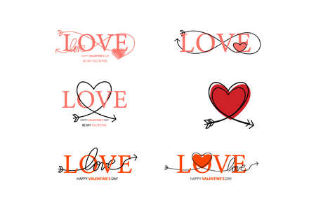 Set of Happy Valentines Day lettering isolated on white background vector illustration. Letters hand drawn composition for gift, postcard, print, banner, web. Greeting romantic design. 向量圖像