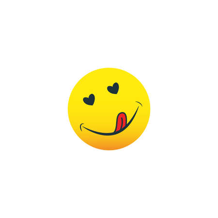 Yummy icon. Hungry smiling face with mouth and tongue emoji. Delicious, healthy funny lunch tasty mood smile avatar happy yellow character cute vector isolated cartoon symbol 向量圖像