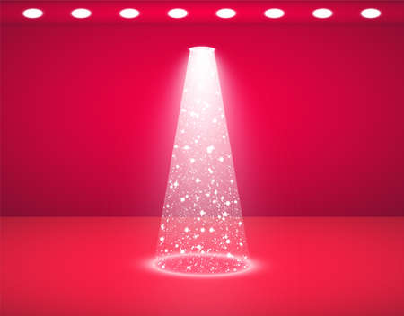 Vector red studio and Lights Shiny Christmas tree Isolated on Transparent Background for your design. White tree as symbol of Happy New Year, Merry Christmas holiday celebration. Bright light decoration design. Studio background