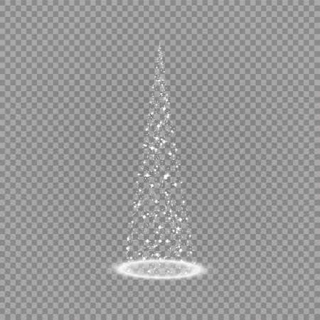 Illumination Lights Shiny Christmas tree Isolated on Transparent Background. White tree as symbol of Happy New Year, Merry Christmas holiday celebration. Bright light decoration design. Vector. 向量圖像