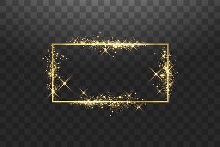 Golden frame with lights effects. Shining rectangle banner. Isolated on black background. Vector illustration 向量圖像
