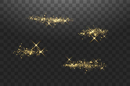 Abstract stylish light effect on a transparent background. Golden glowing neon lines in motion. Golden luminous dust and glare. Flash Light. luminous way. Vector illustration