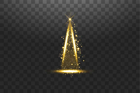 Illumination Lights Shiny Christmas tree Isolated on Transparent Background. White and golden Christmas tree as symbol of Happy New Year, Merry Christmas holiday celebration. Bright light decoration design. Vector