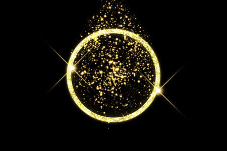 Golden frame with lights effects. Shining circle banner. Isolated on black background. Vector illustration