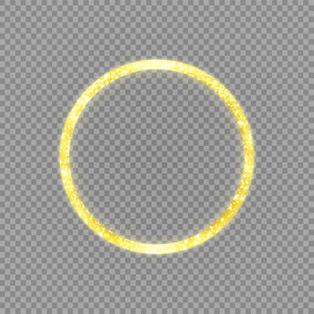 Golden frame with lights effects. Shining circle banner. Isolated on transparent background. Vector illustration
