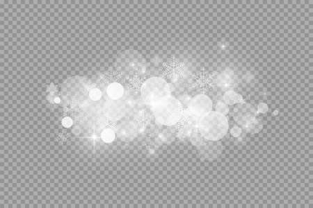 Glow light effect. Vector illustration. Christmas flash dust. White sparks and glitter and snowflakes special light effect. Vector sparkles on transparent background. Sparkling magic dust particles