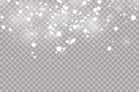 Falling hail or snow on a transparent background. Falling water drops texture. Ilustração
