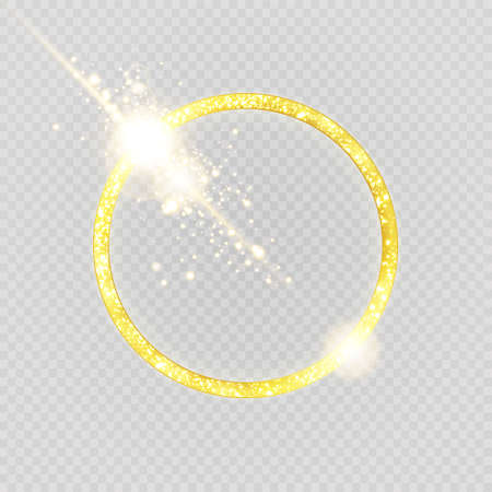 Luxurious gold ring. Vector light circles and spark light effect.