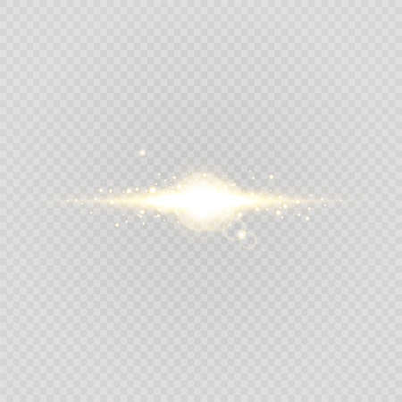 Abstract stylish light effect on a transparent background. Gold glowing neon line. Golden luminous dust and glares. Flash Light. luminous trail. Vector illustration.