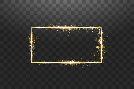 Golden frame with lights effects. Shining rectangle banner. Isolated on transparent background. Vector illustration