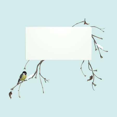 Winter banner with branches and tomtit Illustration