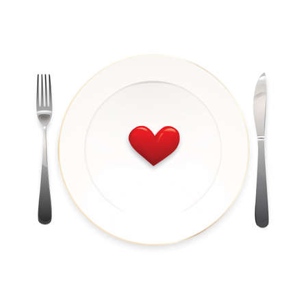 dinner date: Heart plate Illustration