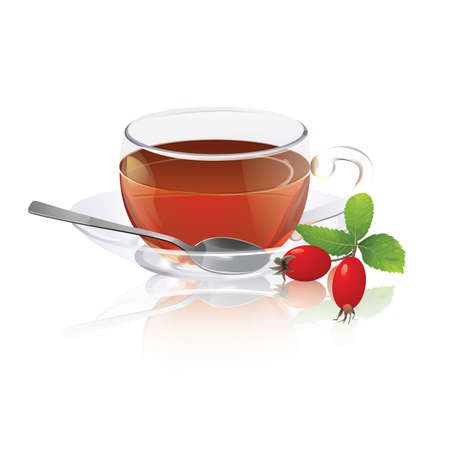 tea rose: Cup of tea with rose hips