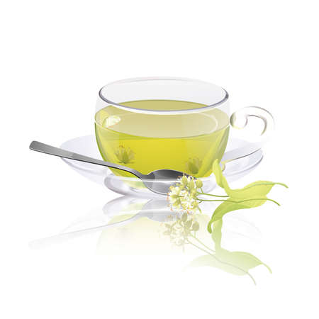 Cup of herbal tea with linden flowers Illustration